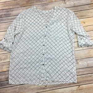 CAbi chessboard sheer blouse